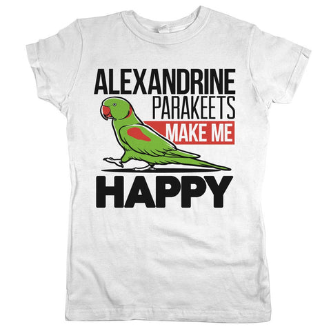 Alexandrine Parakeets Make Me Happy Womens JR Slim Fit Tee White
