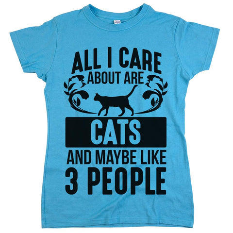 All I Care About Are Cats Womens Shirt Aqua