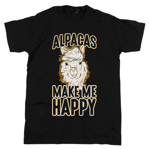 Alpacas Make Me Happy Unisex Tee Black