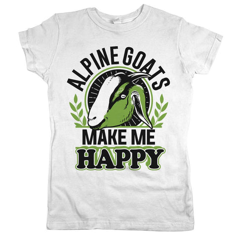 Alpine Goats Make Me Happy Womens JR Slim Fit Tee White