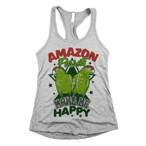 Amazon Parrots Make Me Happy Womens Racerback Tank Top Athletic Grey