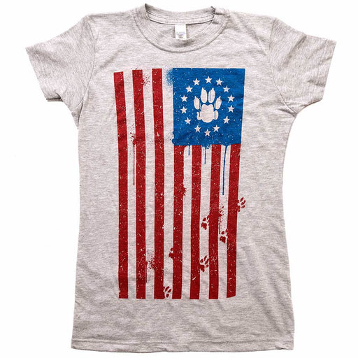 Flag Paw Womens Tee Grey