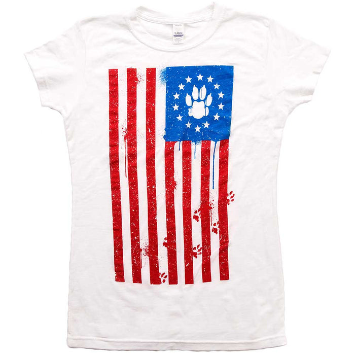 Flag Paw Womens Tee White
