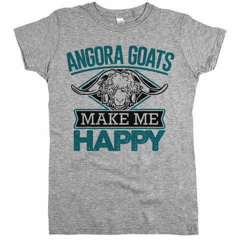 Angora Goats Make Me Happy Womens JR Slim Fit Tee Athletic Grey