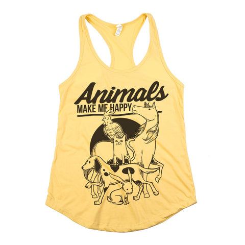 Animals Make Me Happy Womens Racerback Tank Top Yellow