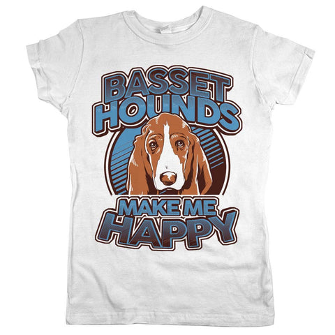 Basset Hounds Make Me Happy Womens Shirt White