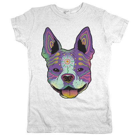 Boston Terrier Womens JR Slim Fit Tee White