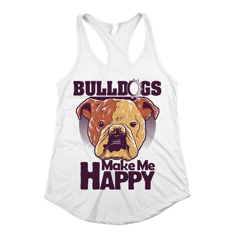 Bulldogs Make Me Happy Womens Racerback Tank Top White
