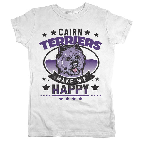 Cairn Terriers Make Me Happy Womens Shirt White