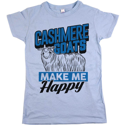 Cashmere Goats Make Me Happy Womens JR Slim Fit Tee Baby Blue