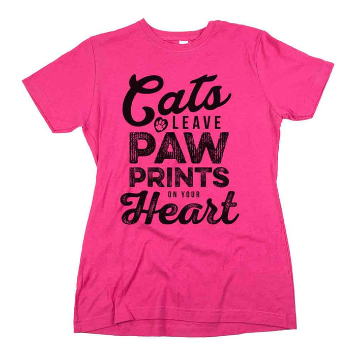 Cats Leave Paw Prints On Your Heart Womens Classic Fit Tee Berry