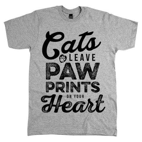 Cats Leave Paw Prints On Your Heart Unisex Tee Athletic Grey