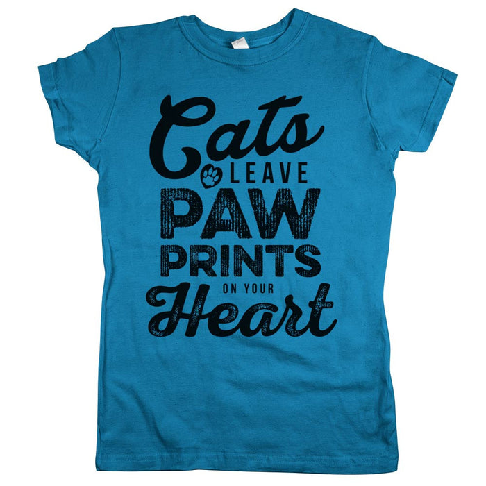 Cats Leave Paw Prints On Your Heart Womens JR Slim Fit Tee Turquoise