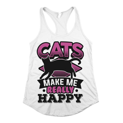 Cats Make Me Really Happy Womens Racerback Tank Top White