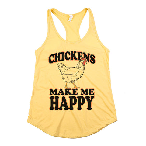 Chickens Make Me Happy Womens Racerback Tank Top Yellow
