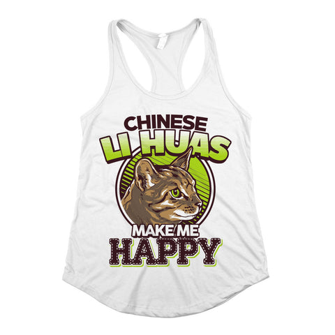 Chinese Li Haus Make Me Happy Womens Racerback Tank Top White