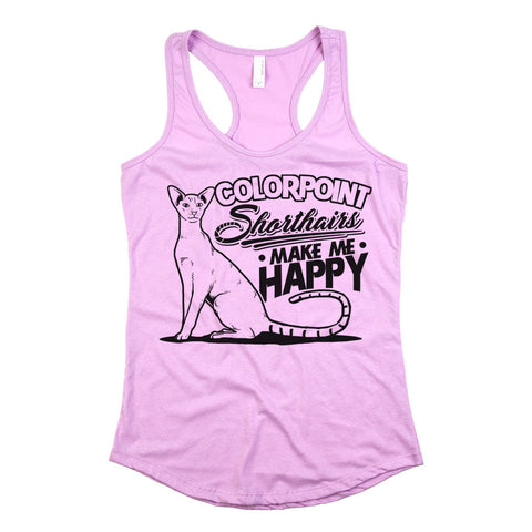 Colorpoint Shorthairs Make Me Happy Womens Racerback Tank Top Light Orchid
