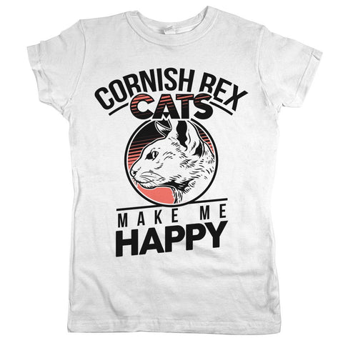 Cornish Rex Cats Make Me Happy Womens JR Slim Fit Tee White