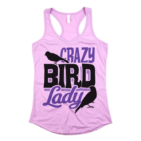 Crazy Bird Lady Womens Racerback Tank Top Light Orchid