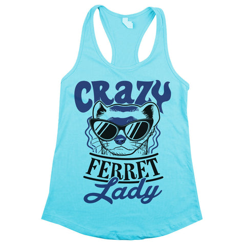 Crazy Ferret Lady Womens Racerback Tank Top Aqua