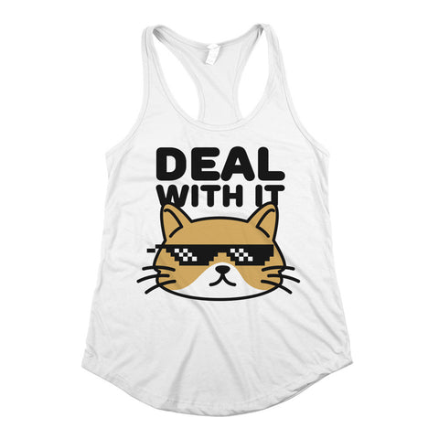 Deal With It Womens Racerback Tank Top White