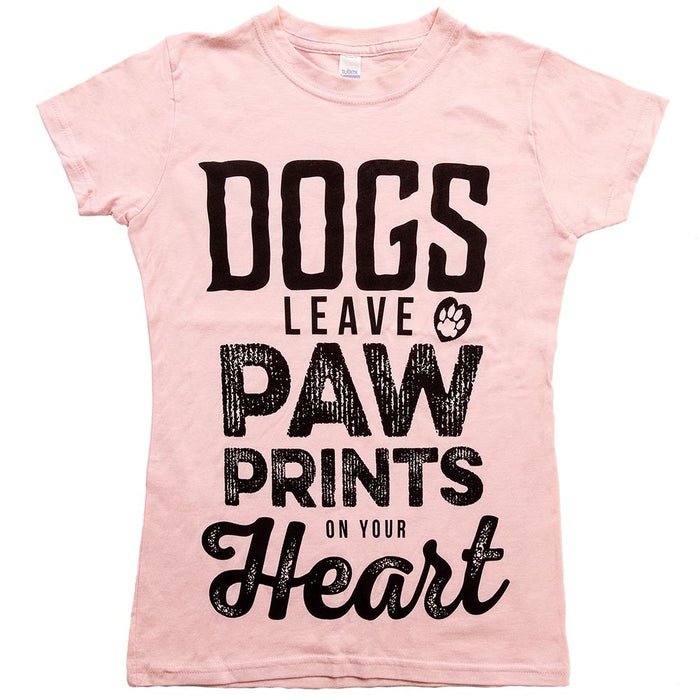 Dogs Leave Paw Prints On Your Heart Tee Womens Light Pink