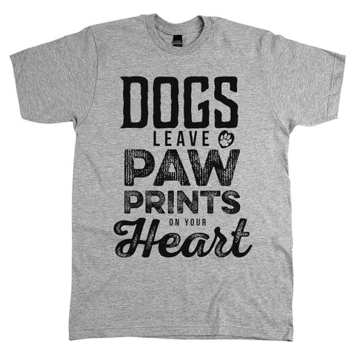 Dogs Leave Paw Prints On Your Heart Tee Unisex Athletic Grey