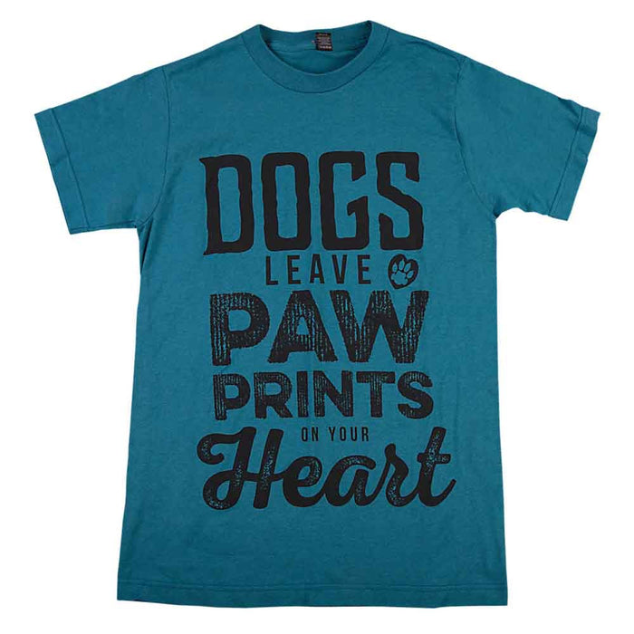 Dogs Leave Paw Prints on Your Heart Unisex Tee Teal