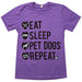 Eat Sleep Pet Dogs Repeat Tee Purple