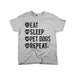 Eat Sleep Pet Dogs Repeat Youth Tee Grey