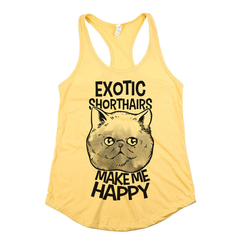 Exotic Shorthairs Make Me Happy Womens Racerback Tank Top Yellow