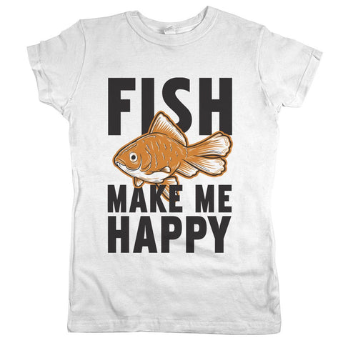 Fish Make Me Happy Womens JR Slim Fit Tee White