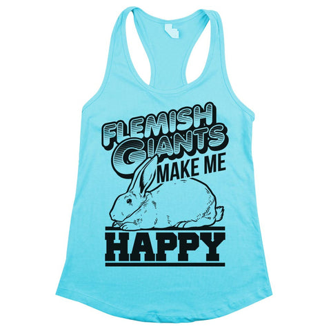 Flemish Giants Make Me Happy Womens Racerback Tank Top Cancun Aqua
