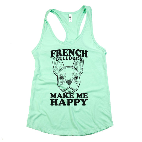 French Bulldogs Make Me Happy Womens Racerback Tank Top Mint Green