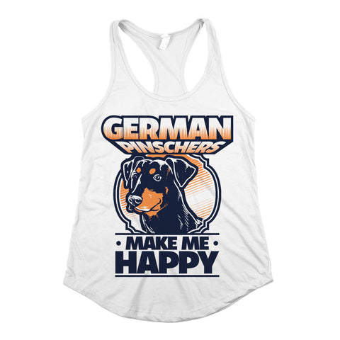 German Pinschers Make Me Happy Womens Racerback Tank Top White