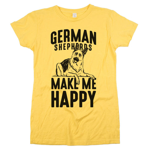 German Shepherds Make Me Happy Womens JR Slim Fit Tee Yellow