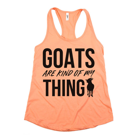 Goats Are Kind Of My Thing Racerback Tank Top Coral Womens