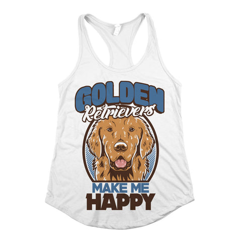 Golden Retrievers Make Me Happy Womens Racerback Tank Top White