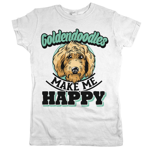 Goldendoodles Make Me Happy Womens Shirt White