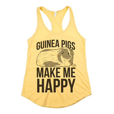 Guinea Pigs Make Me Happy Womens Tank Yellow
