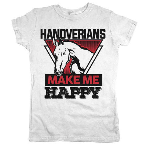 Hanoverians Make Me Happy Womens JR Slim Fit Tee White