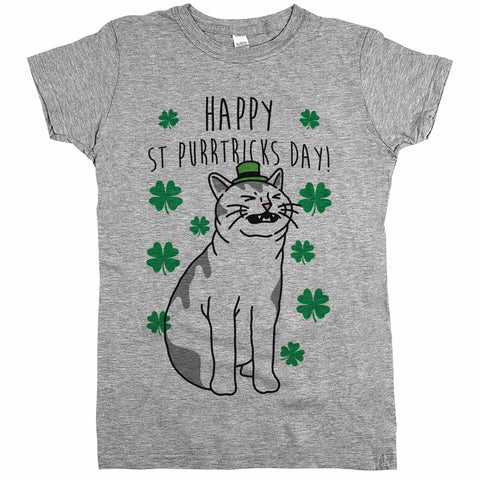 Happy St Purrtricks Day'	Shirt Athletic Grey Womens