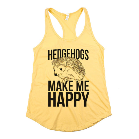 Hedgehogs Make Me Happy Womens Racerback Tank Top Yellow