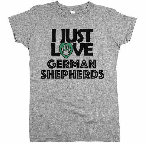 I Just Love German Shepherds Womens JR Slim Fit Tee Athletic Grey