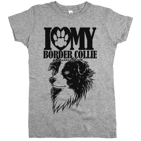 I Love My Border Collie Womens Tee Grey