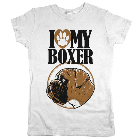 I Love My Boxer Womens Tee White