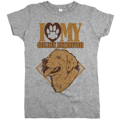 I Love My Golden Retriever Womens Tee Athletic Grey