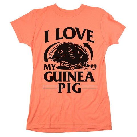 I Love My Guinea Pig Womens Tee Coral