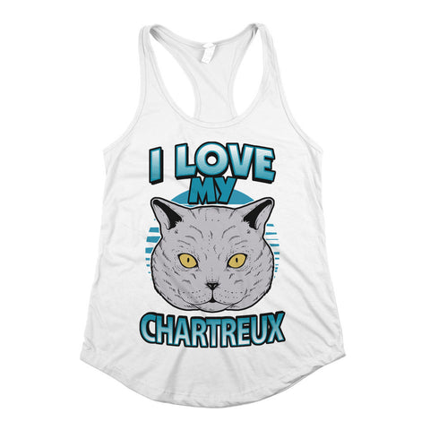 I Love My Chartreux Womens Racerback Tank Top White
