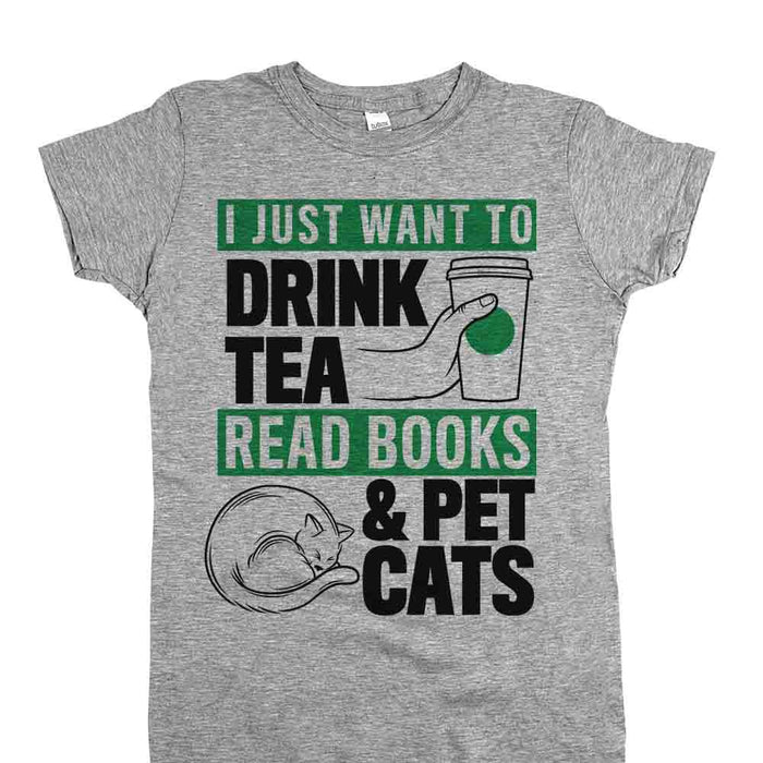 Drink Tea Read Books and Pet Cats Womens JR Fit Tee Athletic Grey